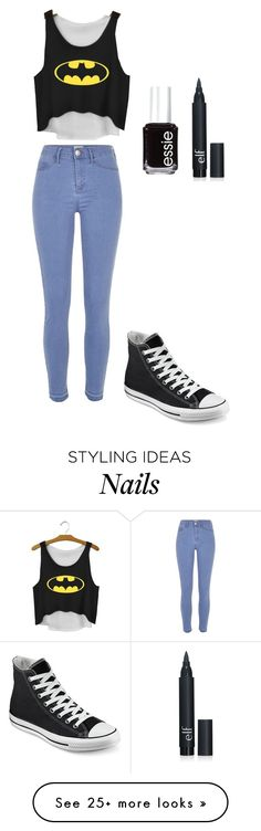 """BATMAN"" by kikabijelic on Polyvore featuring River Island, Converse, Essie, women's clothing, women, female, woman, misses and juniors"