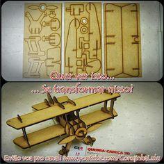 Quebra-cabeça 3D Biplano (Cia Laser). Veja o vídeo da montagem | www.corujinhalulu.com #aeromodelismo #aeronaves #biplane #airplanes