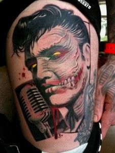 Zombie Elvis tattoo by Jens Bergström