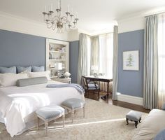 Love the beautiful blue walls with the white....so relaxing