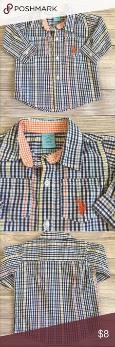 USPA Button Down Shirt US Polo Association Plaid Button Down Shirt.  Has tabs to roll up the sleeves. Like new- no wear or spots to note.  Smoke free/pet free home. Bundle and save. U.S. Polo Assn. Shirts & Tops Button Down Shirts