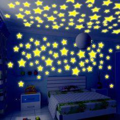 50 neon bercahaya bayi tidur penyimpanan kamar Bintang Bayi mainan anak-anak stiker perekat stiker Gratis