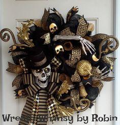 Halloween Skeleton Black & Gold Deco Mesh Wreath, Skeleton Wreath, Front Door Wreath, Fall Wreath, Halloween Decor by WreathWhimsybyRobin on Etsy https://www.etsy.com/listing/244096200/halloween-skeleton-black-gold-deco-mesh