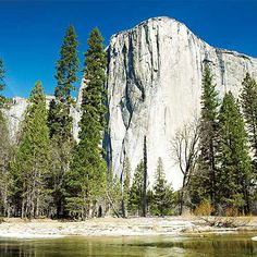 El Capitan || More than 3,000 feet above the valley floor, El Capitan is here seen mirrored in snow-lined Merced River.
