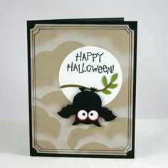 Halloween bat card made with SU Owl punch