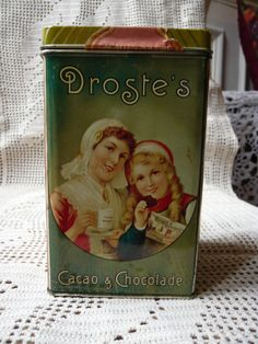 vintage advertising tin box Droste's cacaomid by Lepapadesmatous, $25.00