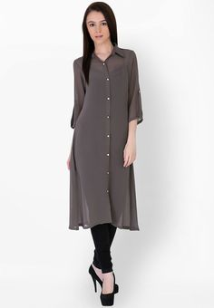 Grey Solid Kurti - Sugar Her Kurtas & kurtis for women | buy women kurtas and kurtis online in indium