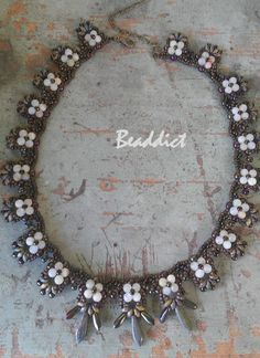 """""""Eclipse"""" necklace. Pattern and beaded by Beaddict. Seed beads, drucks, round beads, semiprecious stone, onyx, superduo."""