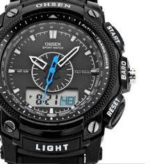 Men Sport Rubber Band Multiple TimeZone Back Light Marcas de Relogio Digital de pulso Analog Esportivos Masculinos Casual Watch $12.99