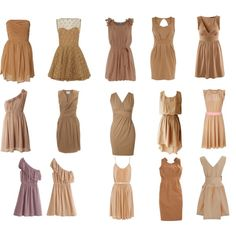 First two dresses in the top row, bottom row middle dress.. free-spirited, flowing, tan bridesmaid dresses.