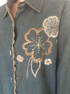 Liz & Me 3X Jeans Denim Cotton Jacket Designer Fashion Floral Beaded Hip Boho #LizMe #BasicJacket