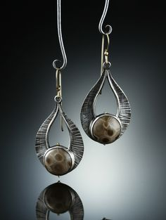 Petoskey Earrings. Fabricated Sterling Silver and 14k. www.amybuettner.com https://www.facebook.com/pages/Metalsmiths-Amy-Buettner-Tucker-Glasow/101876779907812?ref=hl https://www.etsy.com/people/amybuettner http://instagram.com/amybuettnertuckerglasow