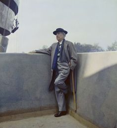 Frank Lloyd Wright visits the Solomon R. Guggenheim Museum during construction…
