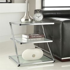 Chrome Finish Glass Chair Side End Table - Overstock™ Shopping - Great Deals on Coffee, Sofa & End Tables