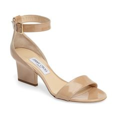 Women's Jimmy Choo Edina Ankle Strap Sandal (910 AUD) ❤ liked on Polyvore featuring shoes, sandals, nude, polish shoes, patent leather sandals, nude ankle strap shoes, nude patent shoes and ankle wrap sandals