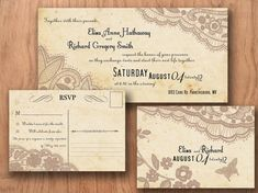 Printable VINTAGE WEDDING INVITATIONS Template - Baltimore Lace Suite