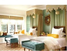 Designed by Elizabeth Dinkle. Phillip Jeffries Key West grasscloth was used in this Greystone   Show House bedroom.