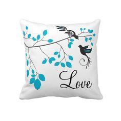 Blue Love Birds Throw Pillow
