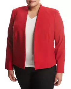 dcd6102c07e83 TVHWK Tahari ASL Plus Bi-Stretch Open-Front Jacket