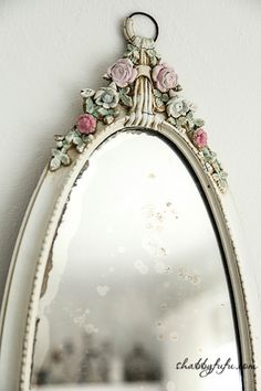 Exquisitly CHIC! Antique Hanging Vanity Barbola Mirror...Roses*FREE US Ship-