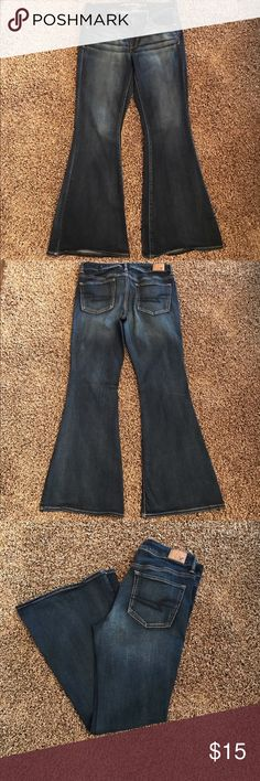 """American Eagle Boho Artist Jeans 10S American eagle boho artist jeans. Size 10 shirt with 30"""" inseam. Worn only a few times as they were too long for me. American Eagle Outfitters Jeans Flare & Wide Leg"""