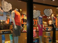 Eye catching LuluLemon window display about body image and being confident in yourself (and your Lulu apparel)