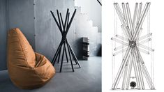 Zanotta's Sacco chair and Sciangai coat hanger. Available at Showroom MOOD, Warsaw.