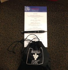 Table favor for Harvest Scholarship Banquet 2014. A blessing bag stuffed with beauty products, and Abigail's famous granola.