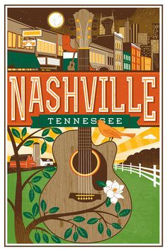 Nashville Travel poster- Guitar by LucieRicePrints on Etsy Old Poster, Poster Art, Kunst Poster, Poster Prints, Art Print, Party Vintage, Pub Vintage, Vintage Country, Vintage Stuff