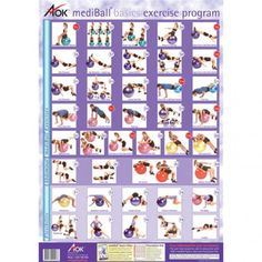 Balance Ball Exercise Chart / Poster in Purple