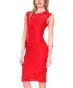 Red Lace Sheath Dress