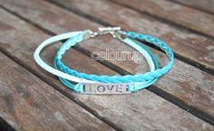 Aqua ❤️ Bracelet ~ €4,75 #bracelet #armband #aqua #love #liefde #suède #waxkoord #gevlochten #mint #bedel #sign #zilver #metaal #3 #2015 #handmade #handgemaakt #fashion #mode #online #buy #shop #armcandy #mooi #lief #happy #Friends #life #hope
