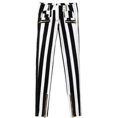 Balmain x H&M block striped jeans Slim fit, block striped jeans in stretch denim with regular waist. Concealed zipper with snap fasteners. Front pockets, coin pocket and back pockets. Extra pockets in the front and back with gold colored zippers. Zips also at ankles. Brand new, never worn. Also comes with a full sized garment bag pictured. Balmain x H&M Jeans Skinny