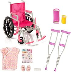 Beverly Hills Doll Collection Wheelchair Set for 18 Inch American Girl Dolls Fully Assembled Wheelchair, Doll Crutches & Casts with Full Hospital Gown Our Generation Doll Accessories, Our Generation Dolls, Doll Wheelchair, Girl Dolls, Barbie Dolls, American Girl Doll Sets, American Girls, American Girl Accessories, Girls Accessories