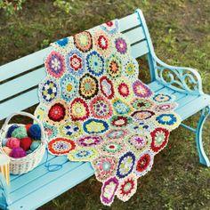 crochet motifs joined in a colourful kaleidoscope pattern @ felissimo zakka collection