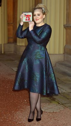 Adele's MBE Investitures Ceremony Philip Treacy Fascinator and Stella McCartney Pre-Fall 2013 Feather Jacquard Print Dress