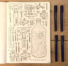 Artist Celebrates Late Grandfather by Drawing the 100,000+ Items in His Tool Shed - My Modern Met
