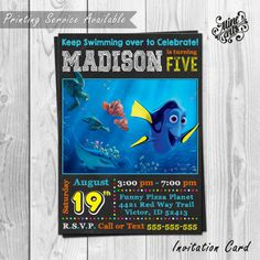 Finding Dory Invitation Finding Dory birthday by MineArtsCreations