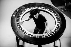 """WHOA! Lady Gaga's keyboard player, Brockett Parsons, built an incredible 360 degree keyboard, featuring 294 keys. Learn more with """"Twisted Sifter""""."""