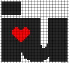 I heart you perler bead pattern. Melty Bead Patterns, Hama Beads Patterns, Beading Patterns, Pixel Crochet, Crochet Chart, Pearler Beads, Fuse Beads, Valentines Design, Cross Stitch Heart
