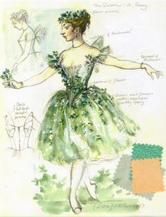 Design sketch for Titania fairy costume, The Dream, choreographed by Sir Frederick Ashton, HET National Ballet, 1977, Designed by David Walker.