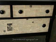 Decoupage book pages onto the drawers? Hell yes.