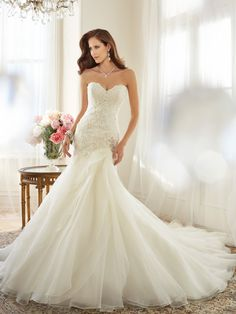 Sophia Tolli - Y11563 – Lark - Organza a line wedding dress with dropped waist, perfectly in tune with this season's key trends, strapless sweetheart