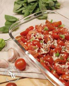 Roast Tomatoes with Garlic, Basil and Chilli. Perfect for Salads, Pasta and BBQs
