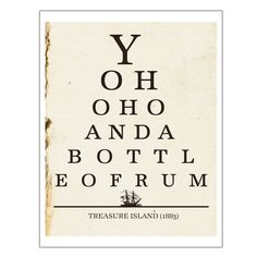 Yo Ho Ho Bottle of Rum, Pirate Art, Eye Chart Print, Kitchen Wall Art, Dorm, Bar Decor, Literature Poster, Quote Print, Gifts Under 25, 8x10