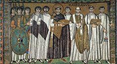 san vitale Ravenna mozaika: Cesarz Justynian I Wielki wśród dostojników, VI w, sztuka bizantyjska