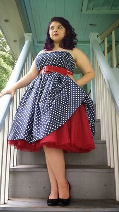 BlueBerryHillFashions: Plus Size Rockabilly Dresses for Less - Cute Polka Dot Swing Dress - up to 4x