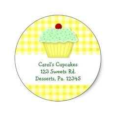 This Yellow Cupcake Sticker is perfect for bakeries or cupcake bakers. Featuring mouse drawn country art by Sandi Frunzi of Mousefx Art.