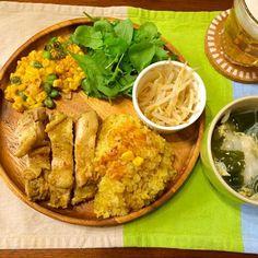 炊飯器で、鶏肉と一緒に炊きました(・v・) - 23件のもぐもぐ - チキンカレーピラフ コーンと枝豆揚げ もやしナムル ワンタンスープ by hasese
