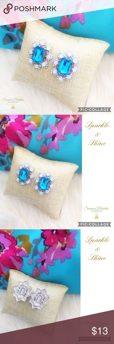 """BOGO50% OFF! 💠NWT Silver Crystal Earrings NWT silver plated """"Larger than Life"""" aqua & coral crystal statement earrings, approximately 1.0 x 1.3 inches.                                                                            💠ASK FOR A BOGO50% BUNDLE listing to be created for your selections to receive discount!              💠BOGO 50% OFF! Buy 1 item and get 2nd item of equal or less price at 50% OFF!                                    TAGS: Statement Earrings, crystal stud earrings…"""